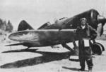 Chinese Air Force ace Wei Dinglie posing in front of his I-16 fighter, circa 1937 to early 1938