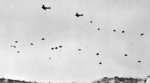 German paratroops jumping from Ju 52 transports over Crete, Greece, 20 May 1941
