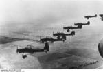 A formation of German Ju 87 Stuka dive bombers over Poland, Sep 1939