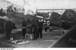 Ju 87 Stuka aircraft being serviced, Germany, winter of 1939-1940, photo 1 of 2