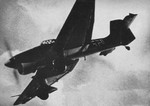 German Ju 87B Stuka dive bomber in flight, circa 1940; as seen in publication US Navy Naval Aviation News dated 1 Sep 1943