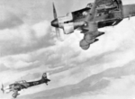 Two Ju 87B Stuka dive bombers in flight in the Balkans, 1941