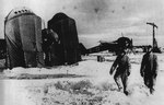 A Ju 88 prepared for flight from a snowy airfield on the Russian front, 1944