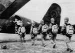 Japanese paratroopers boarding a Ki-57 aircraft, 1940s