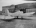 Wheeled variant of the Naval Aircraft Factory OS2N-1 Kingfisher (contract versions of the Vought OS2U-3) at rest at the Naval Aircraft Factory in Philadelphia, Pennsylvania, United States, 1942