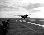 US Navy OY-2 Sentinel aircraft taking off from escort carrier Sicily, Yellow Sea, 22 Sep 1950