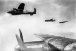 British Lancaster bombers of No 50 Squadron RAF flying in loose formation over Lincolnshire, England, UK, 23 Jul 1943