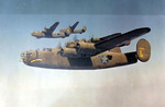 Four US B-24 Liberator aircraft of the 93rd Bomb Group, 330th Bomb Squadron in formation, Dec 1942-Jun 1943