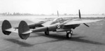 P-38 Lightning aircraft at rest at an airfield, 1940-1942
