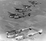 P-38L Lightning aircraft flying in formation during Lockheed test pilot Milo Burcham