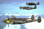 P-38H-5-LO Lightning, P-51A-10 Mustang, and P-47D Thunderbolt aircraft in flight together, United States, 1944-1945