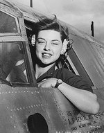 WASP pilot Elizabeth L. Gardner at the window of her B-26 Marauder bomber, Harlingen Army Air Field, Texas, United States, circa 1942-1945