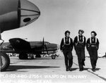 WASP pilots at Laredo Army Air Force Base, Texas, United States, 22 Jan 1944; note B-26 Marauder, AT-6 Texan, and C-56 Lodestar aircraft in background