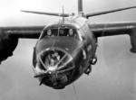 Head-on view of a B-26C Marauder bomber in flight, date unknown