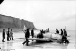 German Bf 109 fighter after force-landing on a French beach, 1940-1941; this might have been Hans-Joachim Marseille
