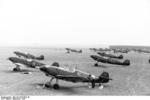 German Bf 109B fighters on an airfield, Poland, Sep 1939