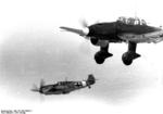 German Bf 109E fighter of I./JG 27 and Ju 87B Stuka aircraft of II./St G 2 in flight, early 1941