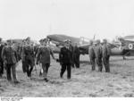 French Air Force Chief of Staff General Vuillemin inspecting the JG 2 of the German Air Force, with German Generals Erhard Milch and Hans-Jürgen Stumpff, Aug 1938