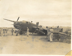 US B-25 bomber after belly landing at Dobodura Airfield, Australian Papua, mid-1943
