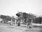 Captured N1K2-J aircraft preparing for flight, Japan, circa 1946