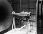 P-26A Peashooter fighter in a 30x60 full scale tunnel at a Boeing facility in California, United States, 29 May 1934
