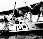 P2Y aircraft of US Navy squadron VP-10 at rest, Naval Air Station Ford Island, US Territory of Hawaii, 1930s; note two-star flag near cockpit indicating an admiral was onboard