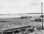 P-61 Black Widow and P-47 Thunderbolt aircraft at Kagman Airfield, Saipan, Mariana Islands, 24 Jun 1945