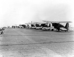 SOC-3A Seagull aircraft of VGS-1 parked on the flight deck of escort carrier Long Island, 10 May 1942