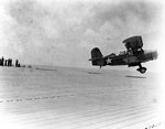SOC-3A Seagull aircraft catapulted from escort carrier Long Island, 21 May 1942