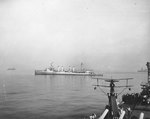 Omaha during southern France landings, Aug 1944; cruiser Philadelphia and SOC Seagull aircraft in foreground, French destroyer and light cruiser in background, and Augusta in background