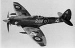 Spitfire F.22 of No. 607 Squadron RAF in flight, date unknown