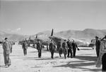 Greek Prime Minister George Papandreou, Greek Air Minister M. Fikioris, British Air Commodore Geoffrey Tuttle inspecting No. 336 (Hellenic) Squadron RAF, Kalamaki Airfield, Athens, Greece, 1945