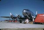 A TWA Boeing 307 Stratoliner on the pad at the Chicago airport now known as Chicago-Midway, Illinois, United States, 1941, photo 1 of 2; note similarity with B-17 in the wings and engine cowlings