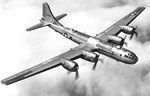 Superfortress bomber in flight, late 1943