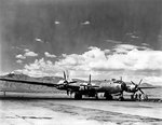 B-29 bomber at rest at Davis-Monthan Field; note Santa Catalina Mountains in background