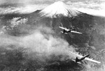 B-29 Superfortress bombers of US 73rd Bomb Wing flying near Mount Fuji, Japan, 1945