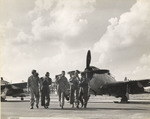 Pilots of the New Jersey National Guard 108th Fighter Group, Fort Dix Army Air Force base, New Jersey, United States, Sep 1947; note P-47 Thunderbolt aircraft in background