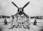 Test pilots in front of a Thunderbolt aircraft, date unknown