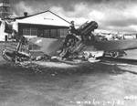 Wrecked Warhawk fighter at Wheeler Field after Japanese attack, Oahu, US Territory of Hawaii, 7 Dec 1941