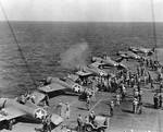 Wildcat fighters testing their machine guns aboard Ranger off North Africa, Nov 1942