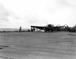 Wildcat aboard Long Island, ready for launching, off Viti Levu, Fiji, 6 Mar 1943