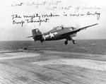 FM-2 Wildcat catapulted off of USS Makin Island, off Honolulu, Hawaii, Oct 1945; it was the last launch before the escort carrier was converted to a troop transport