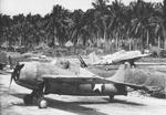 F4F Wildcat fighters of the US Navy and US Marines lined up on Henderson Field on Guadalcanal, Solomon Islands, Jan 1943, photo 2 of 2