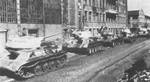 Knocked out and abandoned T-34 medium tanks line the streets of Kharkov, Ukraine, Feb 1943