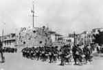 Italian troops marching into Durrës, Albania, 7 Apr 1939