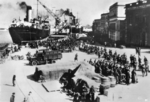 Italian troops disembarking at an Albanian port, Apr 1939