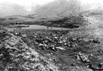 A group of approximately 40 dead Japanese soldiers at a ridge on Attu, Aleutian Islands, US Territory of Alaska, 29 May 1943