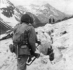 American troops traveling across snow and ice during the Battle of Attu Island, May 1943