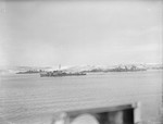 HMS Cumberland (left), HMS Obdurate (second from left), HMS Belfast (third from left), and HMS Faulknor (right) in the Kola Inlet near Murmansk, Russia, 27-28 Feb 1943