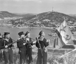 Soviet naval infantrymen flying the navy ensign at Port Arthur (Ryojun or Lushunkou), Liaoning, China, 1 Oct 1945